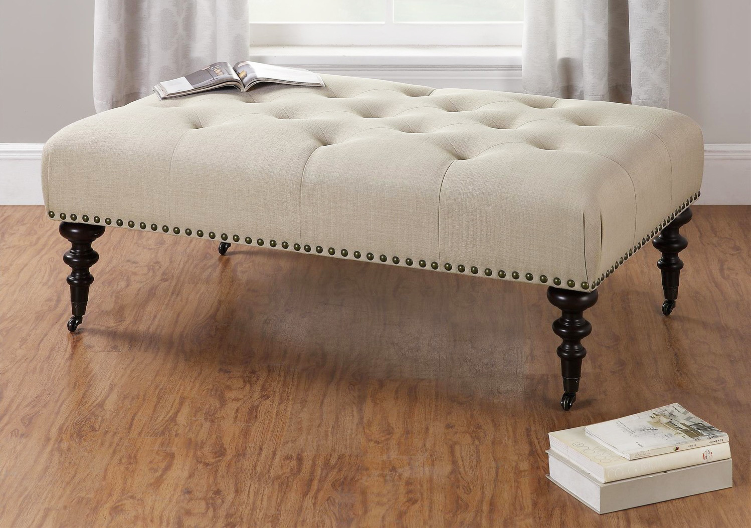 Round Tufted Storage Ottoman Coffee Table