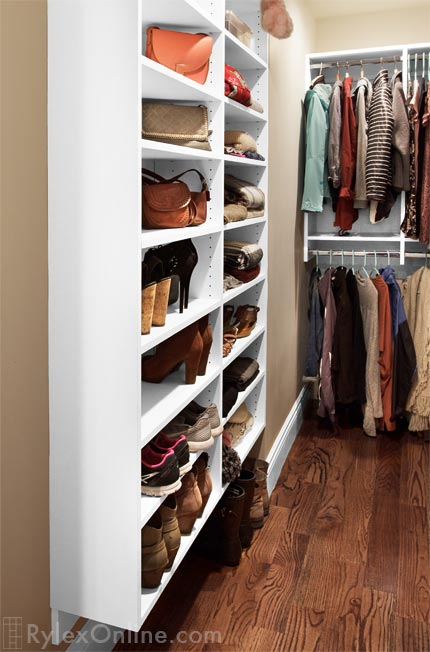 Narrow Walk In Closet Melamine Bedroom Closet Open