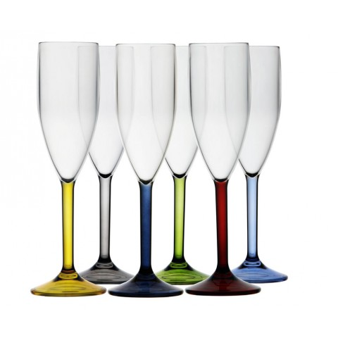 Party Champagne Flute with Color Base- Set of 6