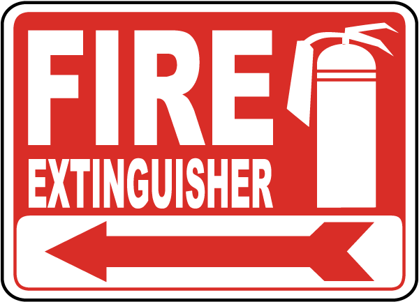 Fire Extinguisher Arrow Sign by SafetySign.com - A5043A