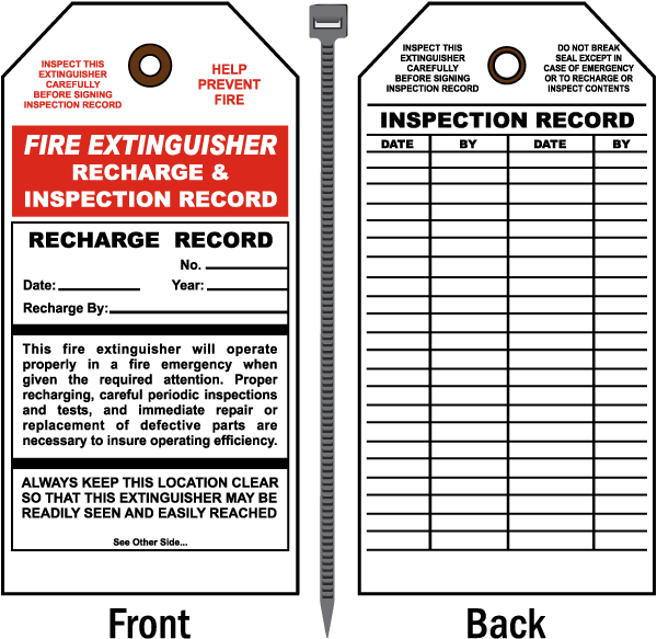 Fire Extinguisher Tag by SafetySign.com, Recharge and ...