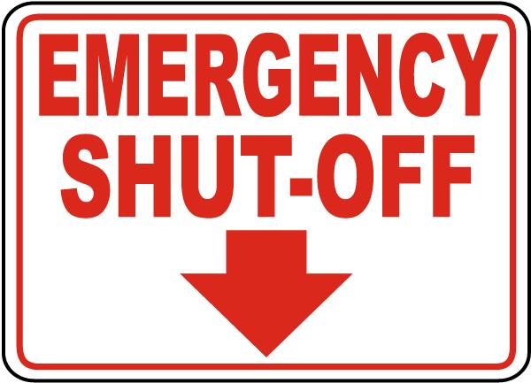 Emergency Shut Valve Placards