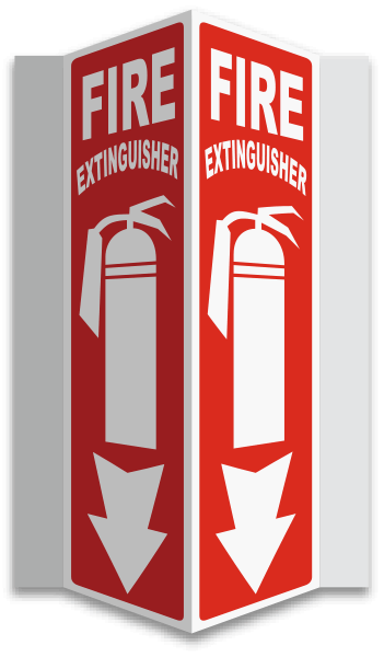 3-Way Fire Extinguisher Sign A5001 - by SafetySign.com