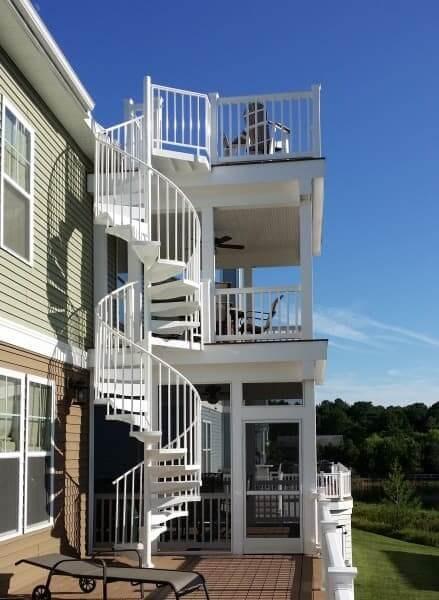 Deck Design Ideas Inspiration Salter Spiral Stair | Two Story Deck Stair Designs | Building | Modern | House | Decking | Split Level
