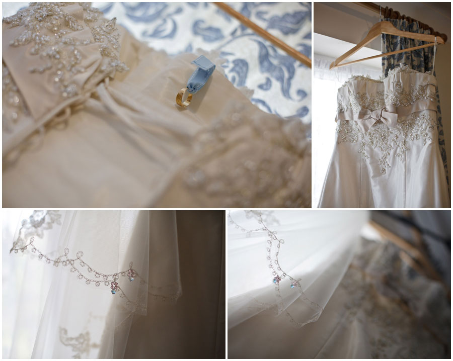 River Cottage Wedding Photography wedding dress hanging up