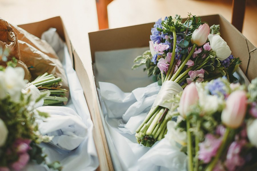 wedding bouquet resting in a box