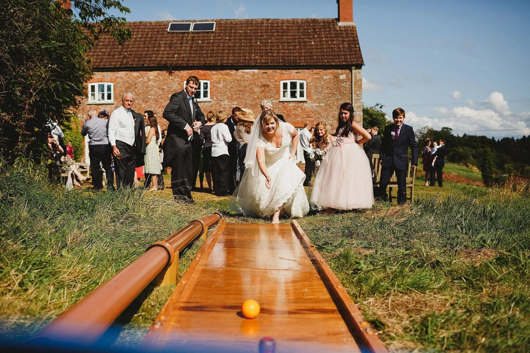bride playing skittles