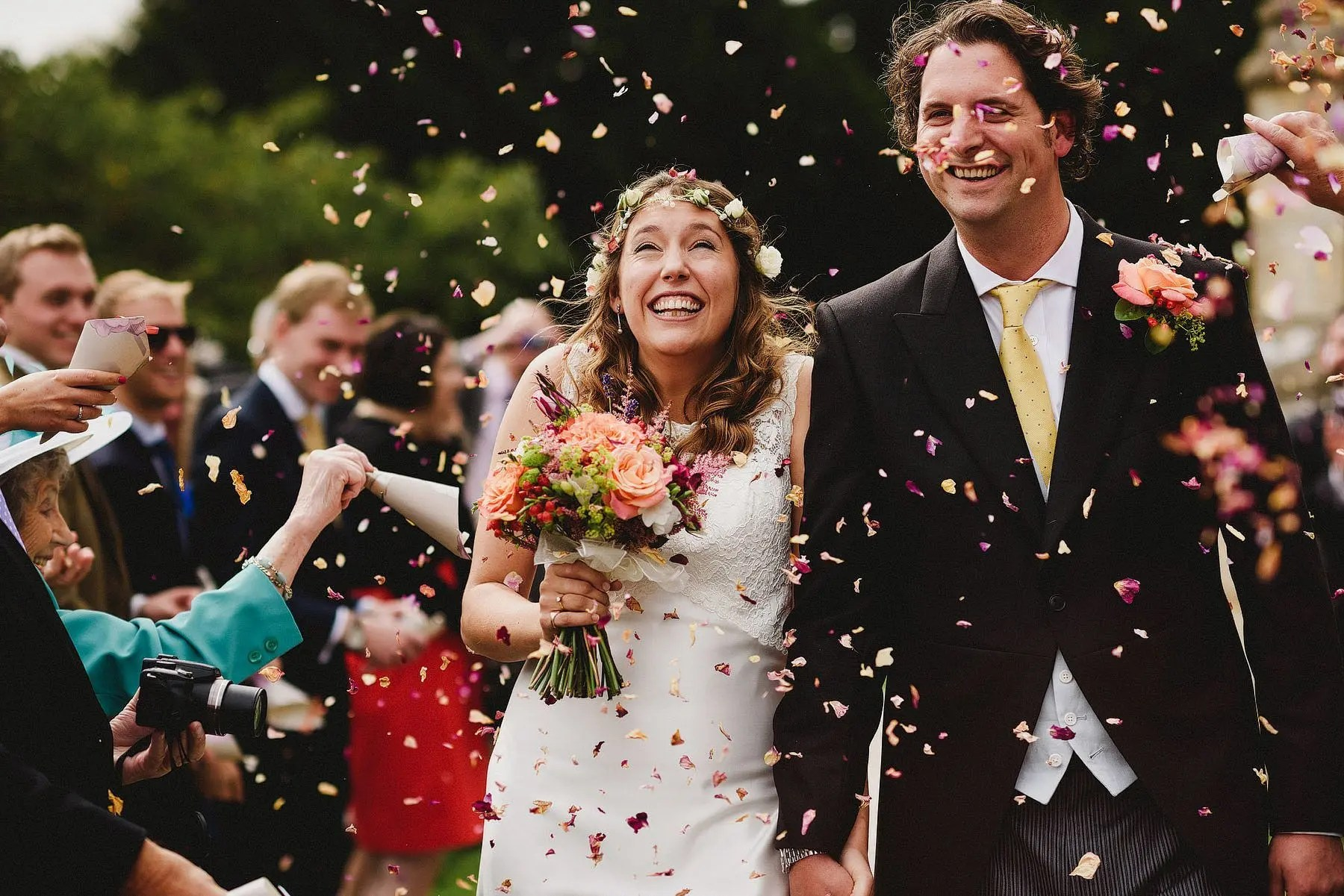 confetti at a wedding in somerset