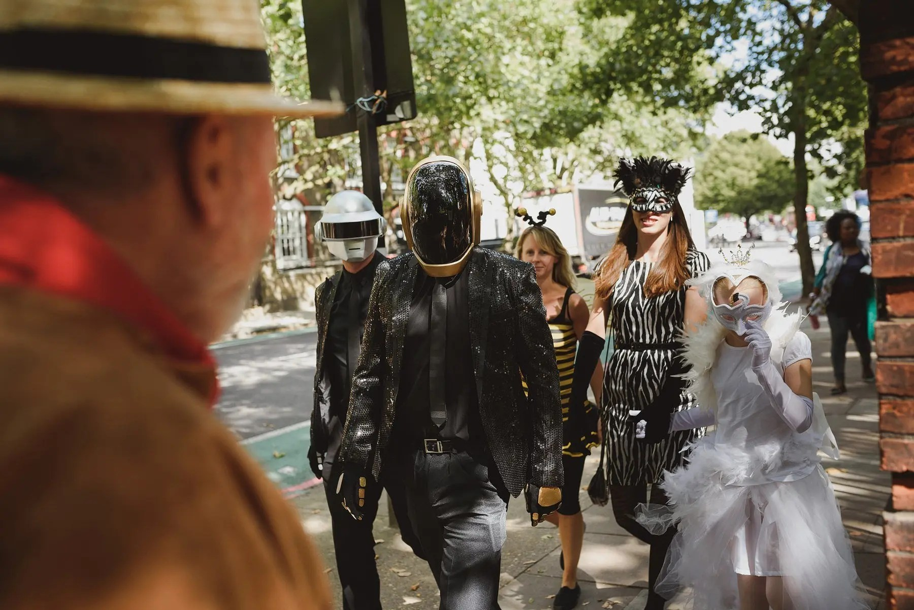 wedding guests dressed as daft punk