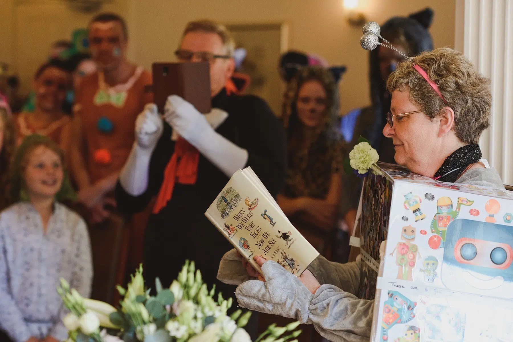 winnie the pooh reading at a wedding