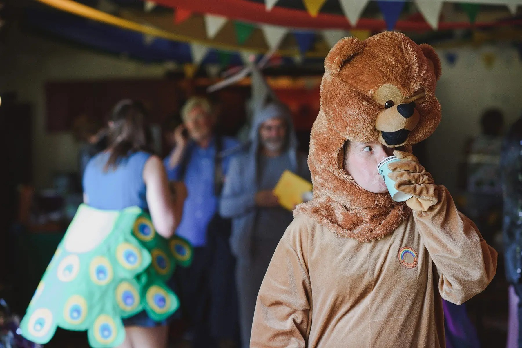 wedding guest dressed as a bear