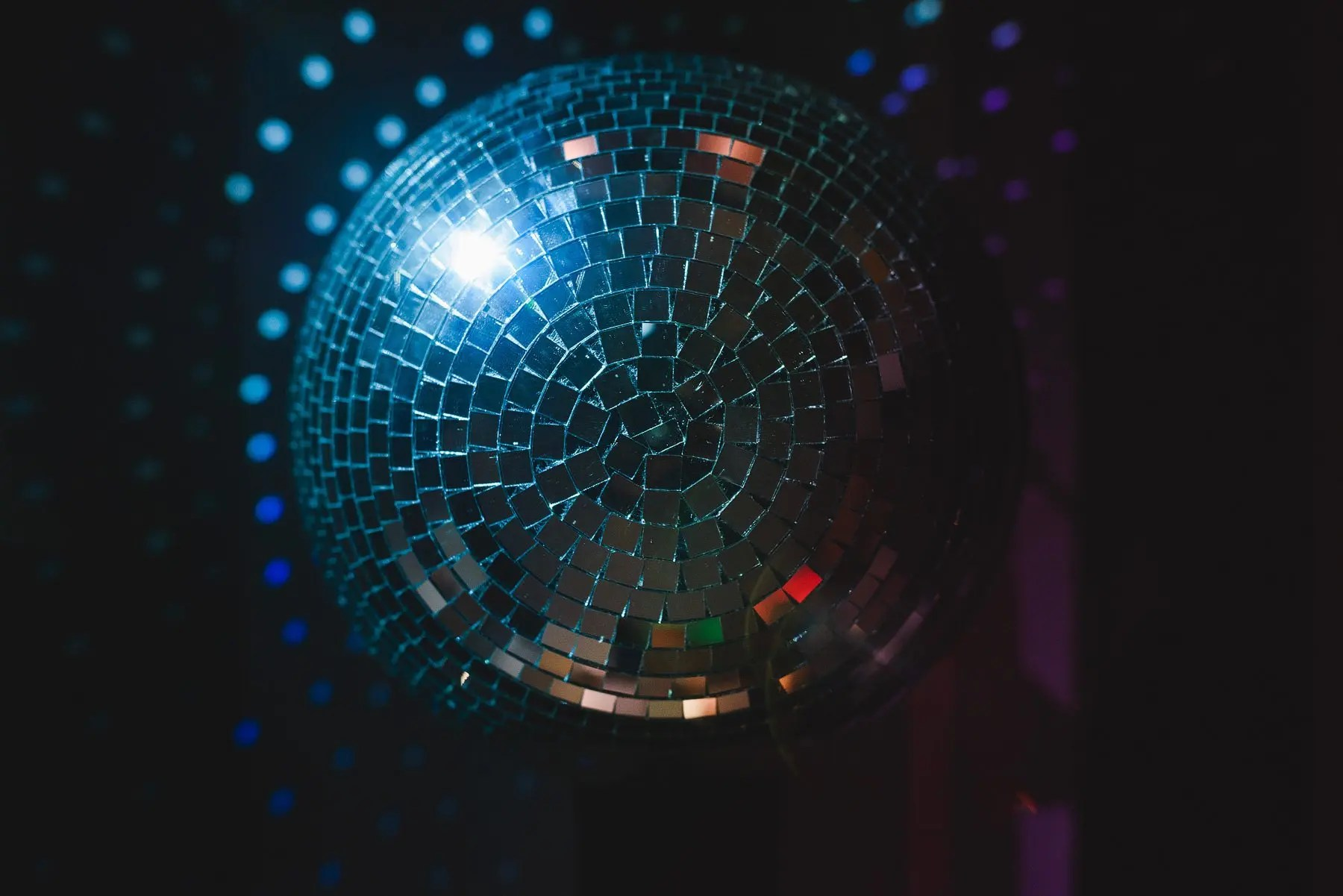 disco ball at a wedding