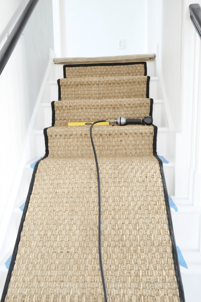 Painted Staircase Makeover With Seagrass Stair Runner   Industrial Carpet For Stairs   Shaw Floors   Persian Carpet   Stair Railing   Carpet Workroom   Handrail