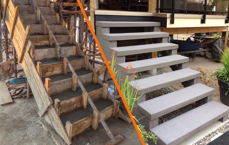 Ready Mix Concrete Steps Vs Precast Concrete Stairs Sanderson   Wood Over Concrete Steps   Building   Stair Stringers   Concrete Patio   Concrete Porch Makeover   Composite Decking