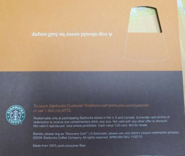 Starbucks Coffee Recovery Gift Certificate Free Drink Coupons