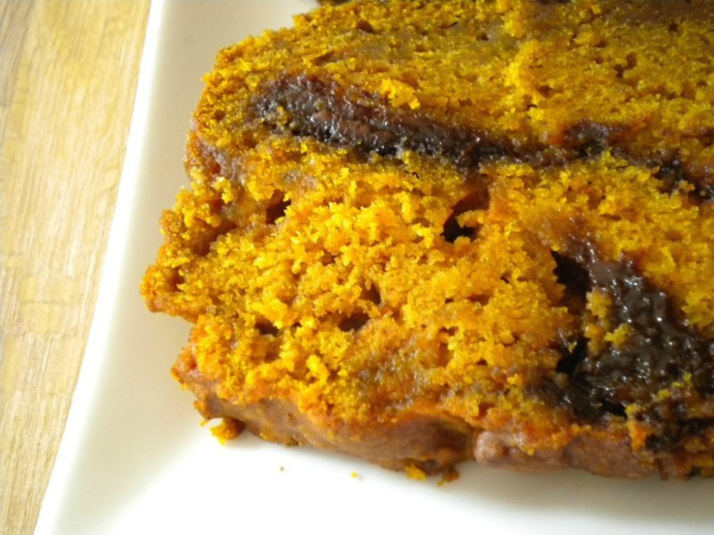 overhead image of pumpkin nutella butterscotch bread