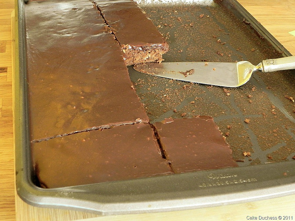 overhead image of chocolate cake in sheet pan