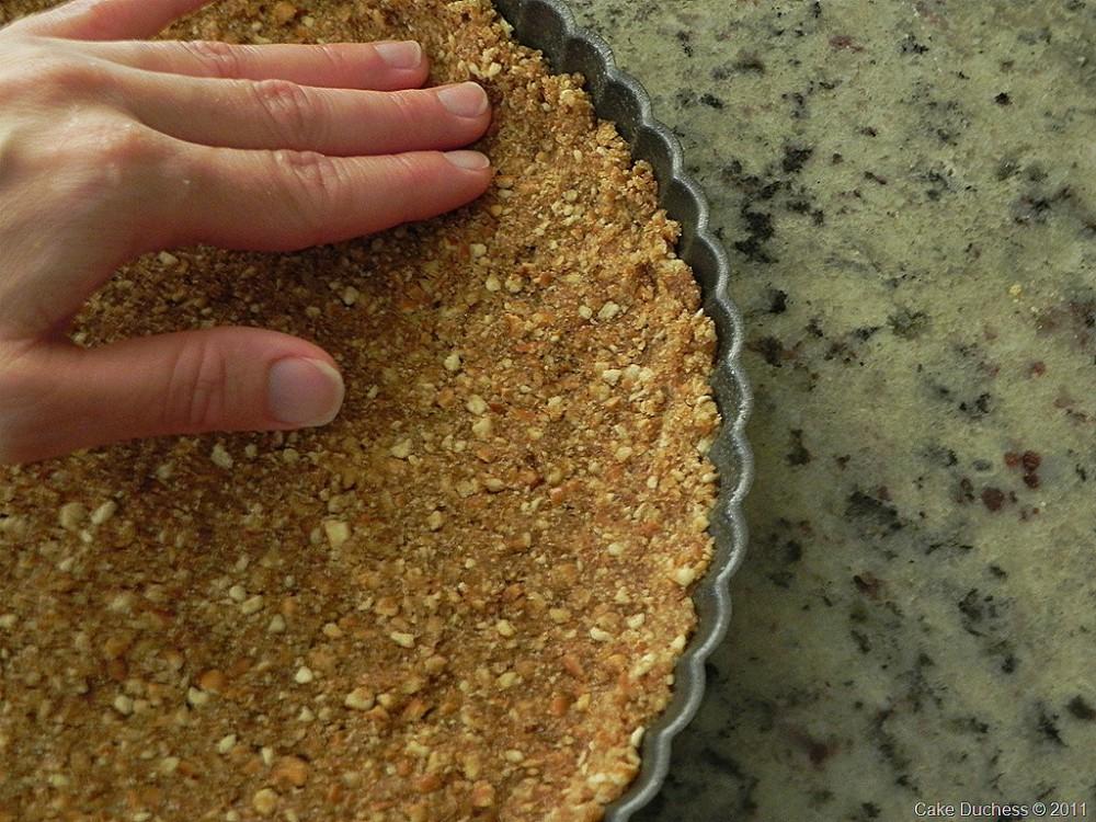 overhead image of pretzel crust in a pan