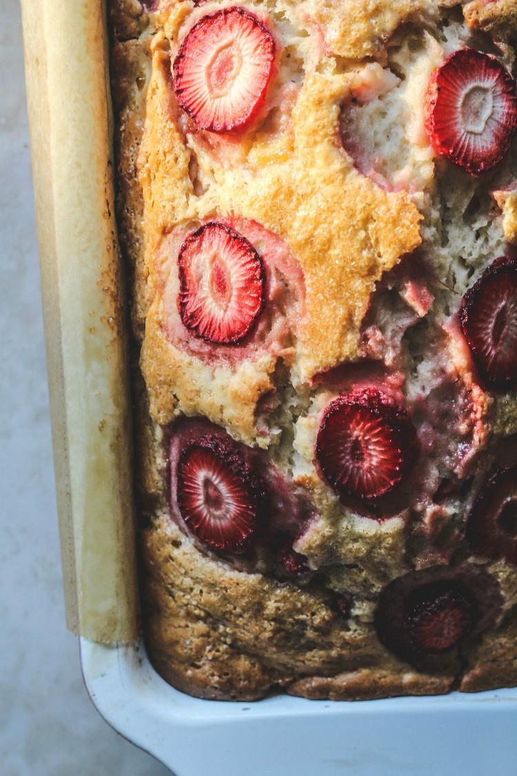 overhead image of vegan strawberry banana bread