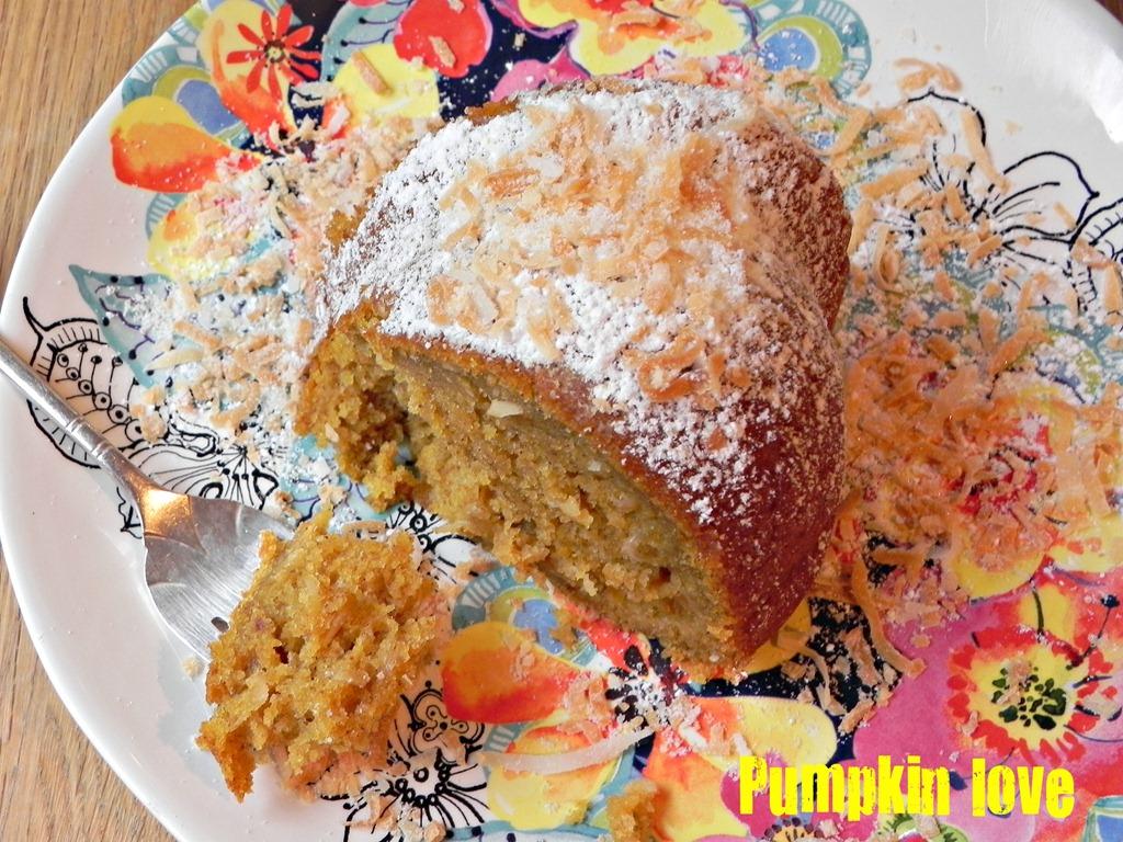 overhead image of slice of pumpkin bundt cake