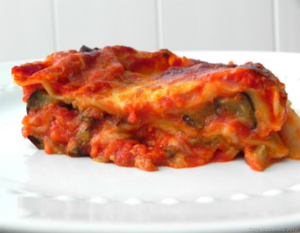 overhead image of a slice of lasagna