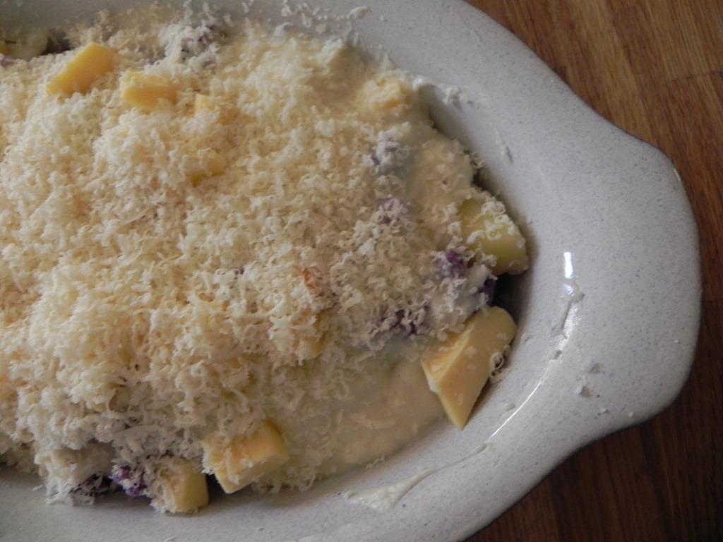 overhead image of cheesy casserole