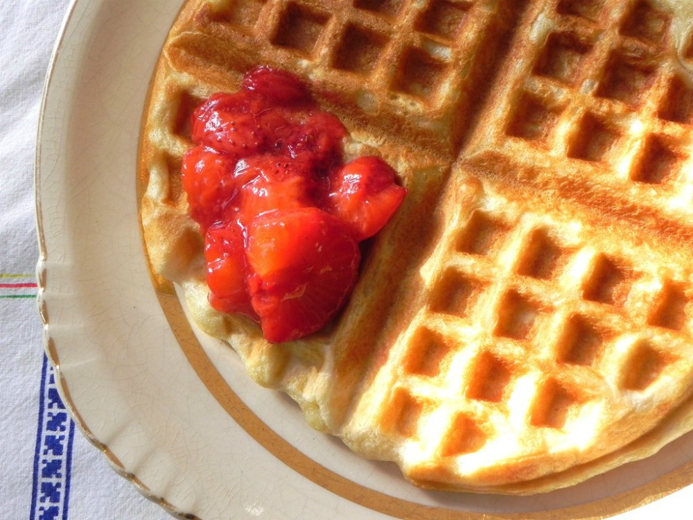 overhead image of vegan overnight yeast waffles