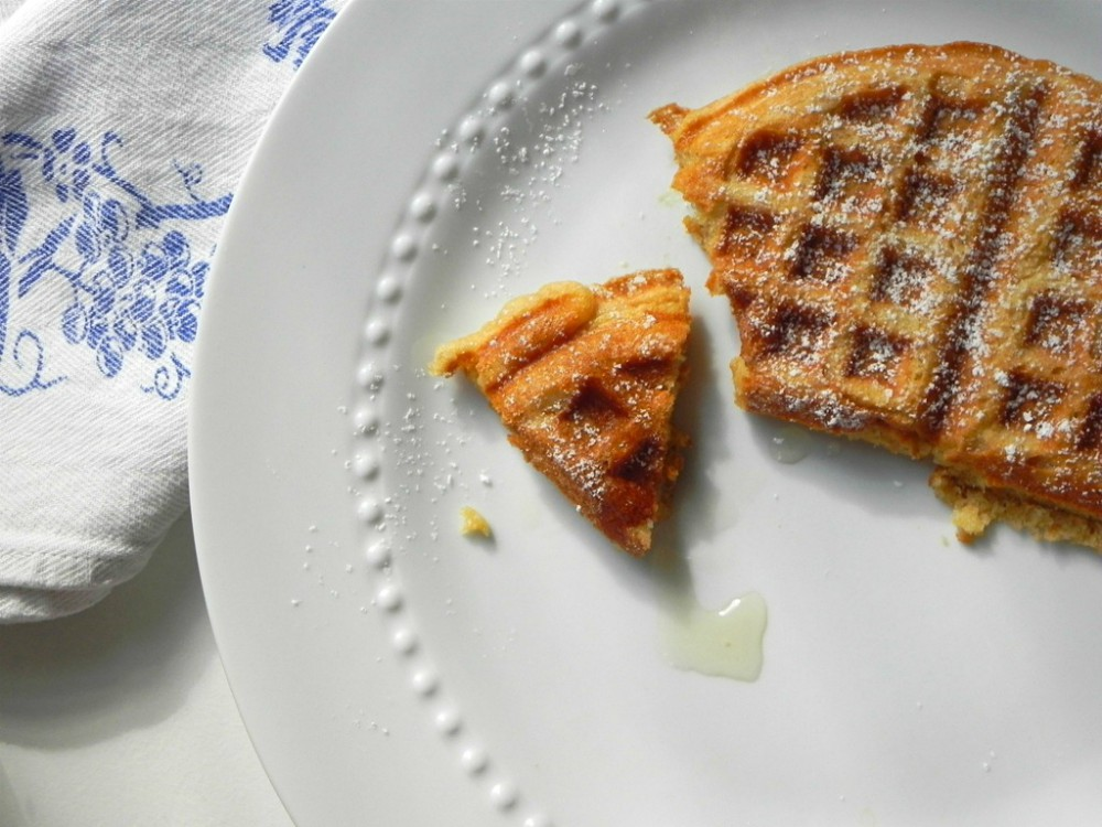 overhead image of waffle on white plate