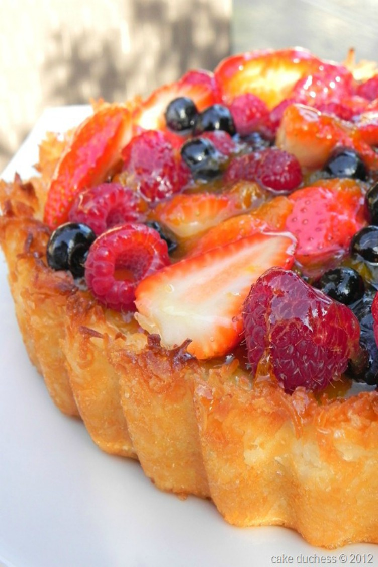 overhead image of a berry tart