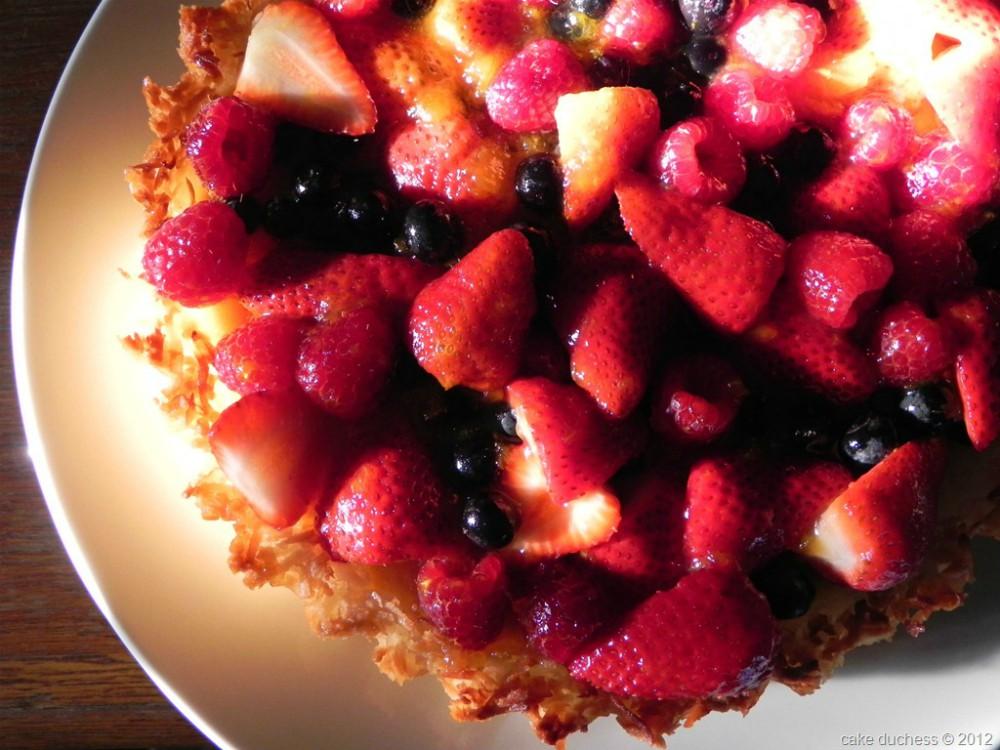 overhead image of berry tart