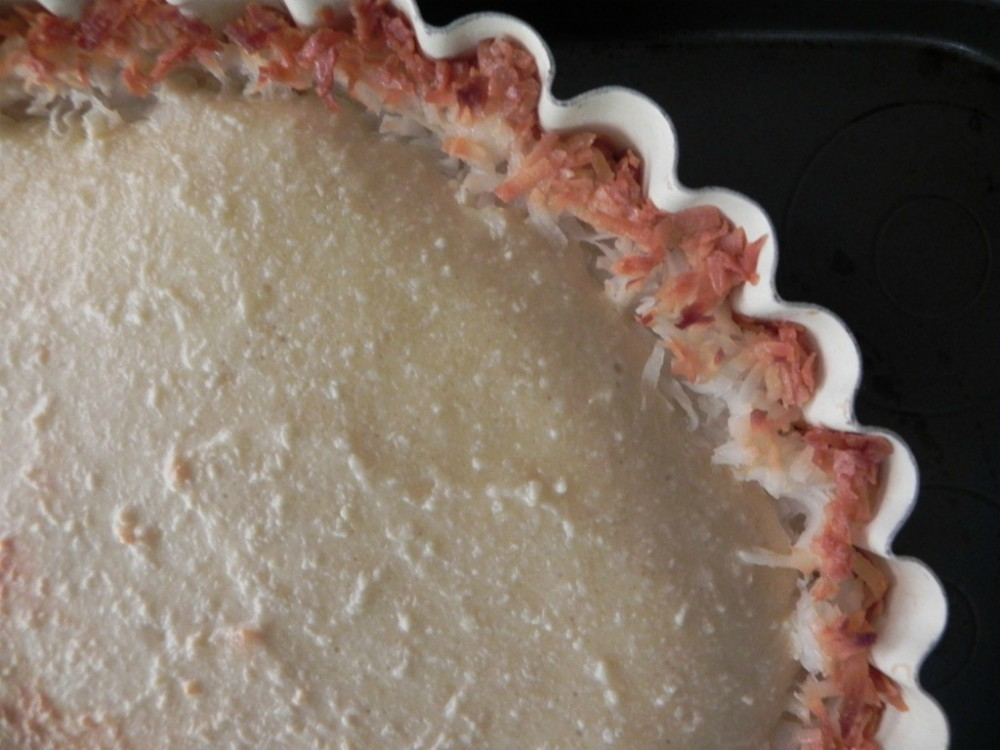overhead image of baked tart crust and filling