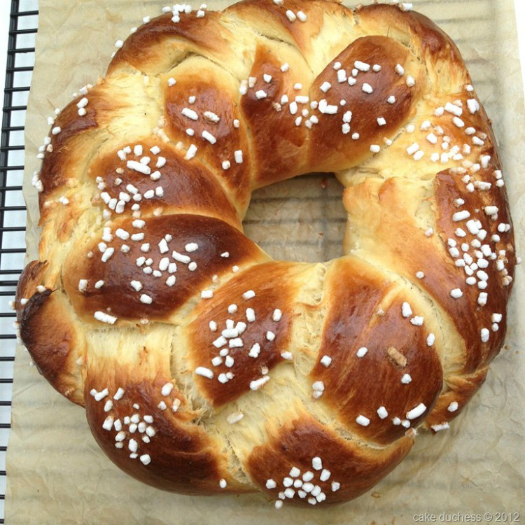 overhead image of a finnish pulla on a parchment paper