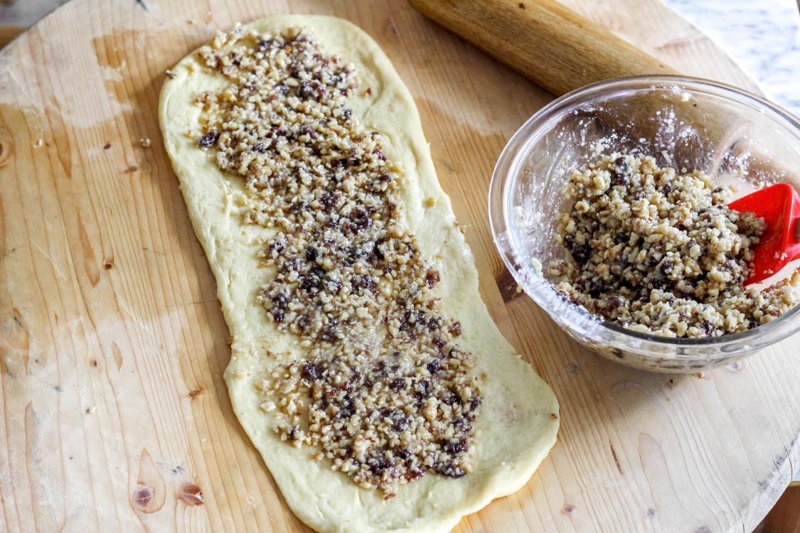 image of making nut roll log