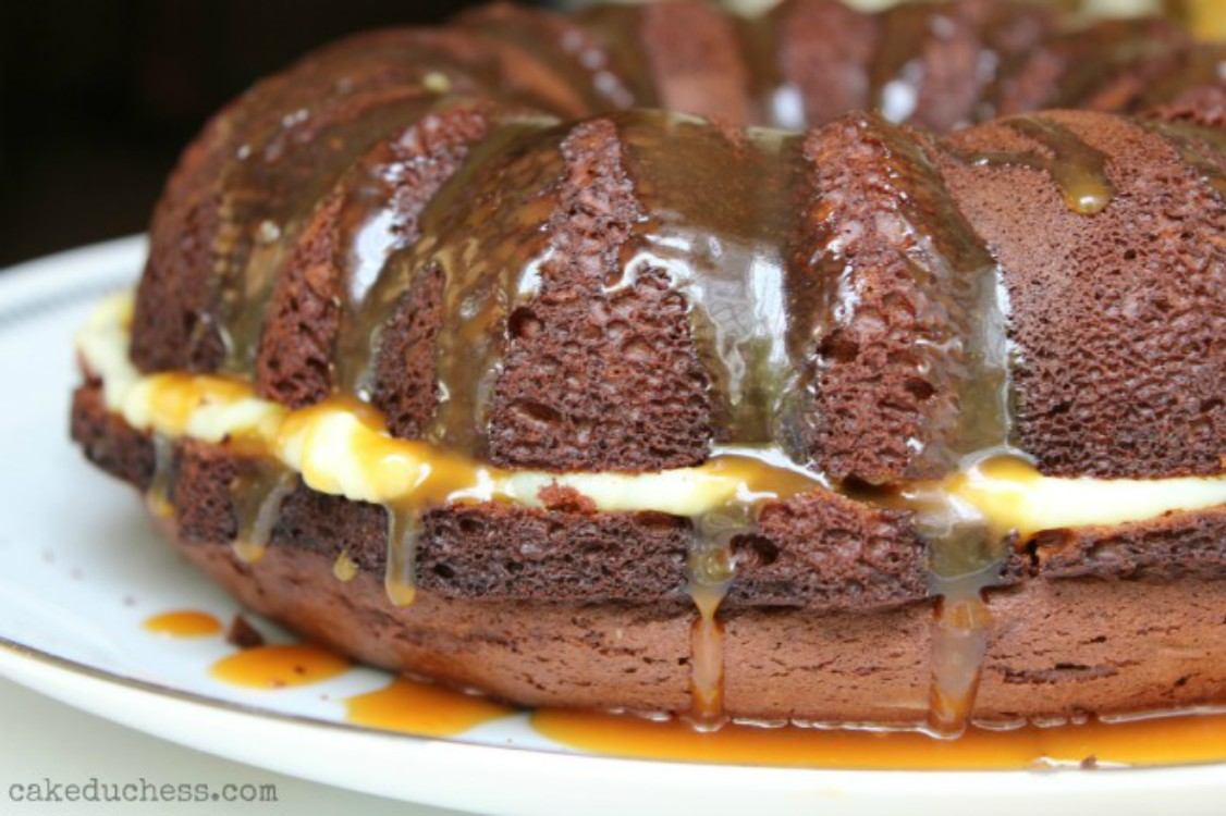 overhead image of chocolate cake with a caramel glaze
