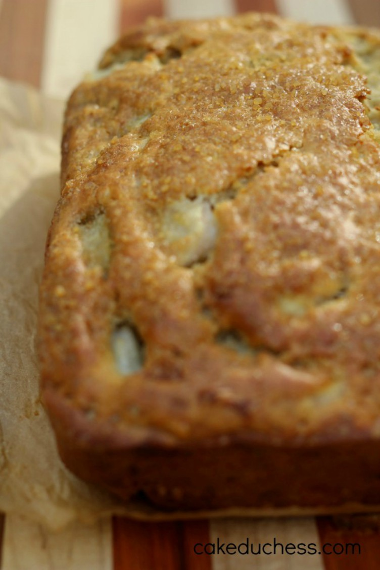 overhead image of banana pear bread with dark chocolate chips