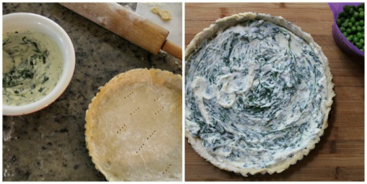 overhead image of making spring pea and ricotta tart