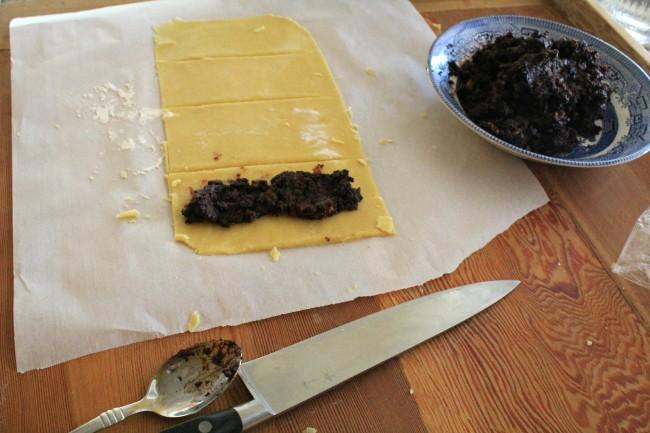 fig filling on dough