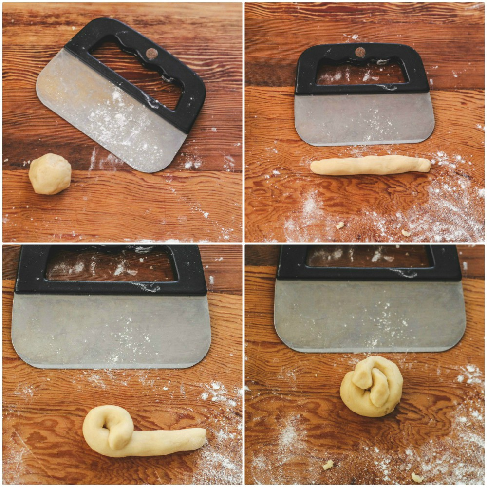 overhead image of how to make lemon knot cookies