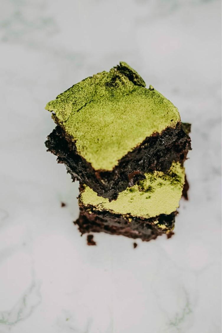 overhead image of vegan matcha brownies