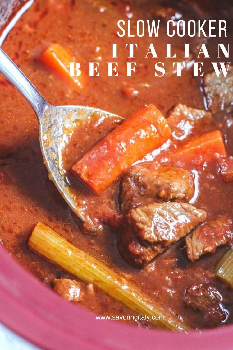 overhead image of slow cooker italian beef stew