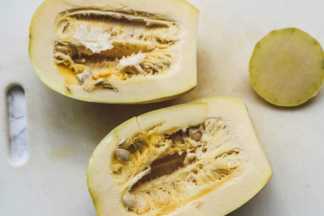 overhead image of sliced squash