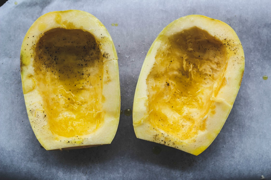 image of squash on parchment lined tray