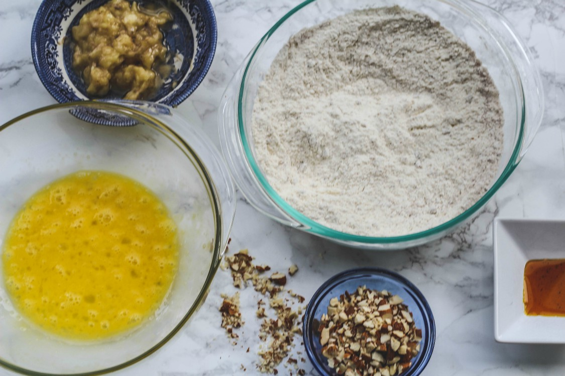 image of ingredients to make banana bread biscotti