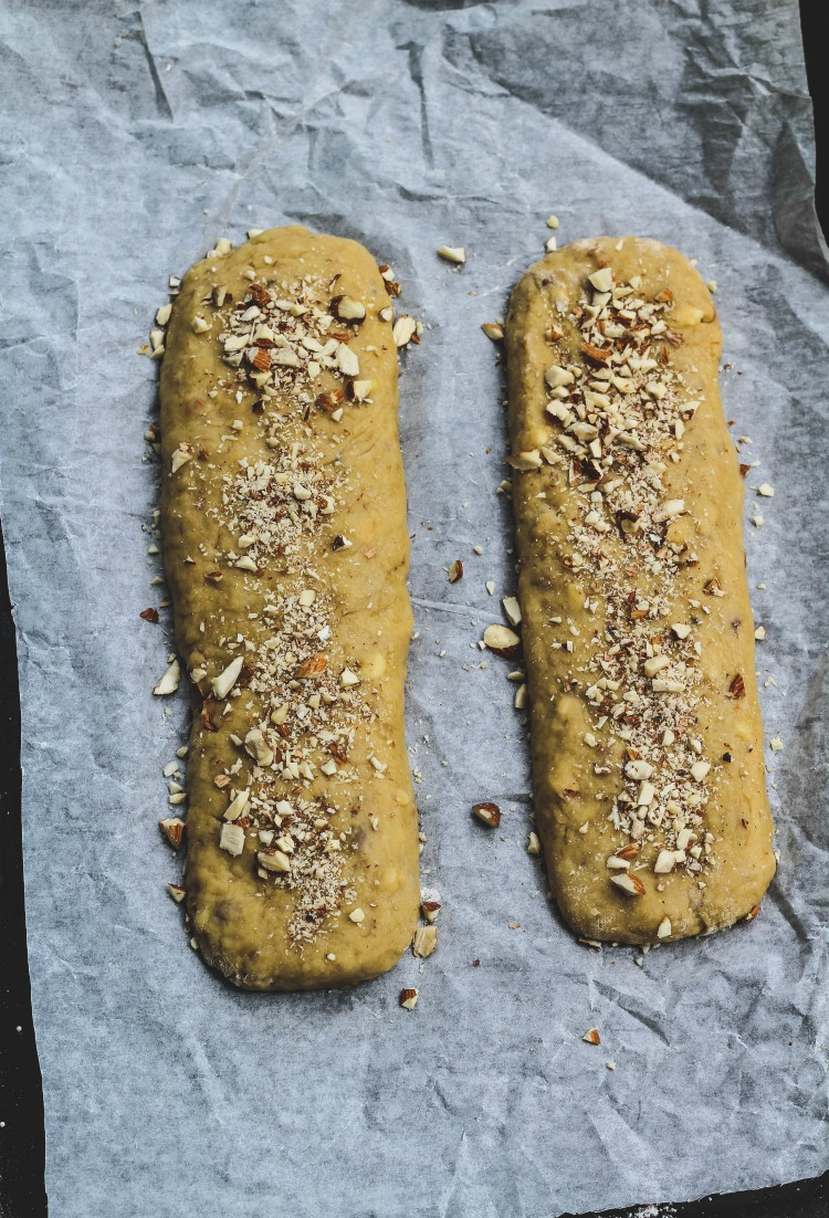 overhead image of biscotti logs to be baked