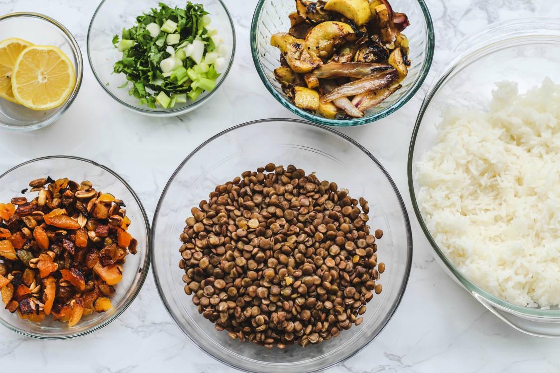 overhead image of making lentil rice salad
