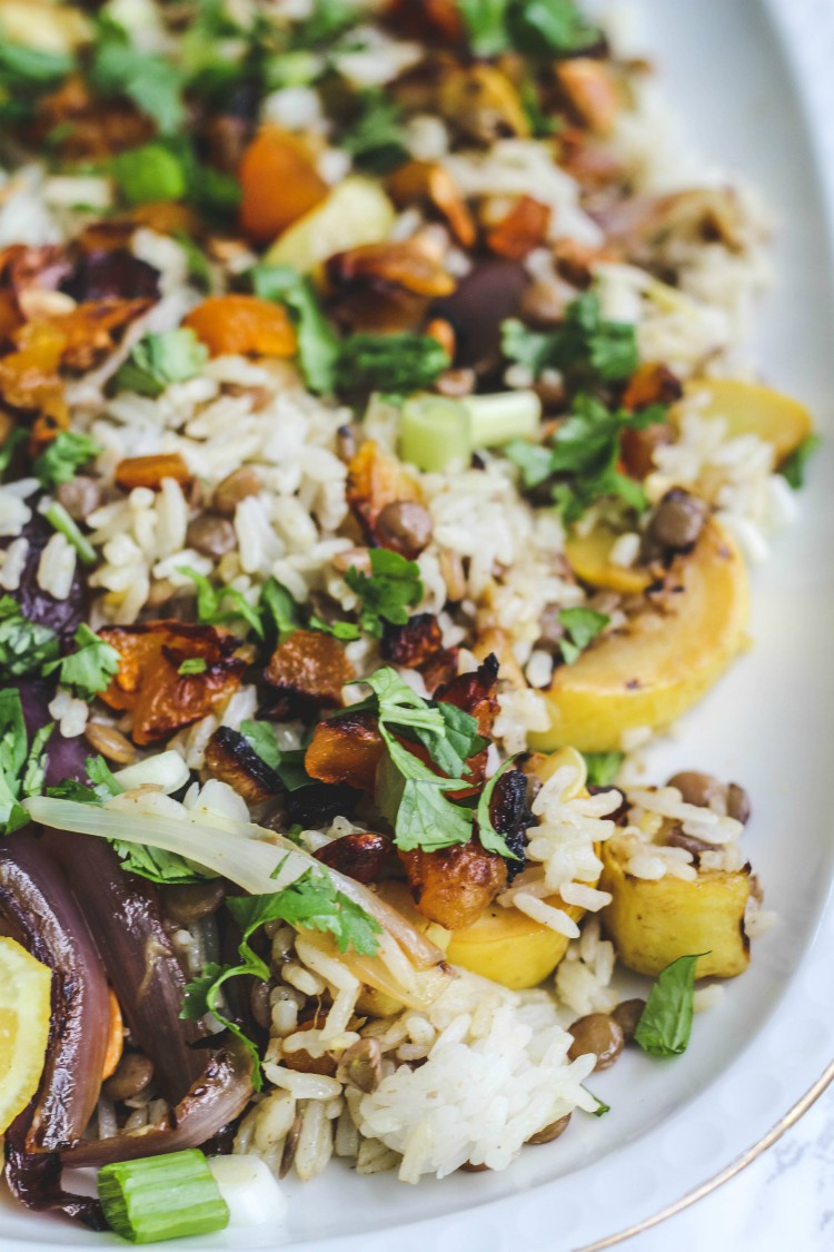 overhead image of rice salad