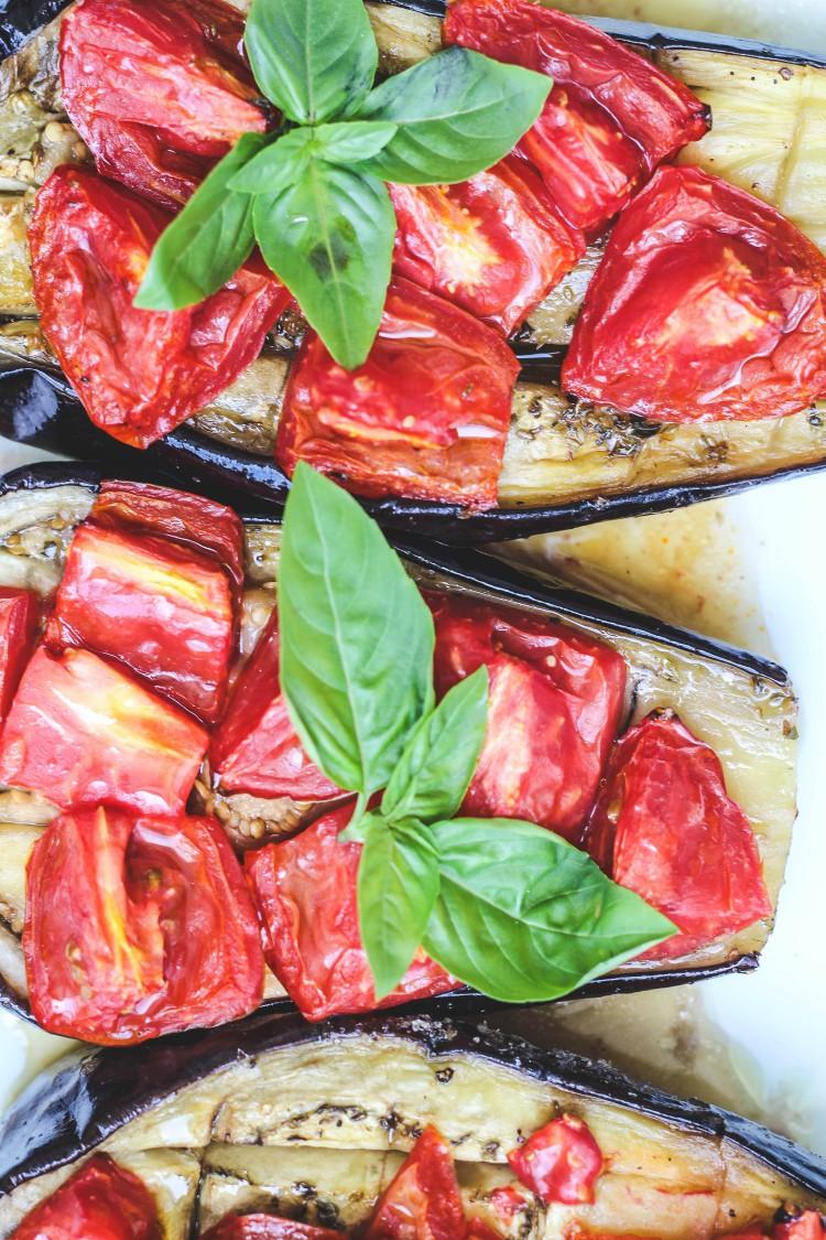 overhead image of sheet pan eggplant and tomato bake