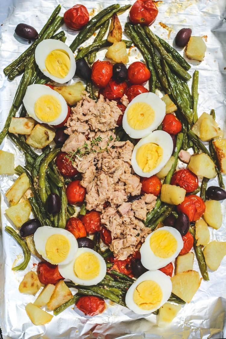 overhead image of sheet pan warm salad