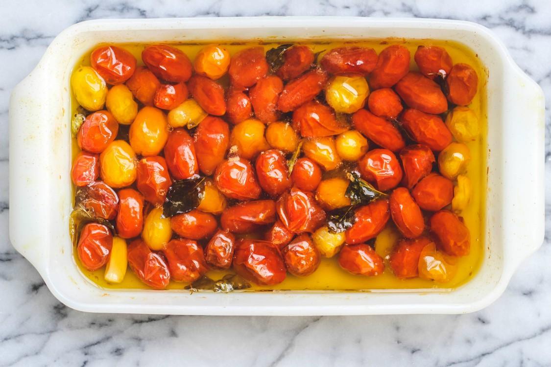 overhead image of cherry tomato confit