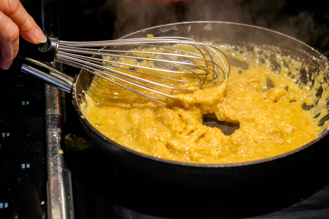 image of making roux in a skillet